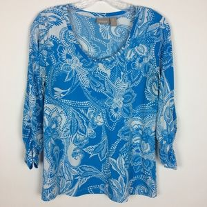 Chico's 0 Ruched 3/4 Sleeve Slinky Top